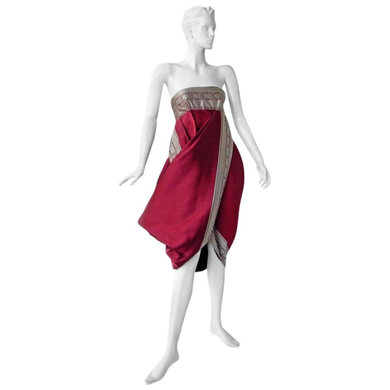 Alexander McQueen 2008 Look of Royalty Red and Silver Strapless Dress For Sale