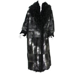 New Tom Ford Women's Metallic Leather Graphite Fur Lining Long Oversize Coat