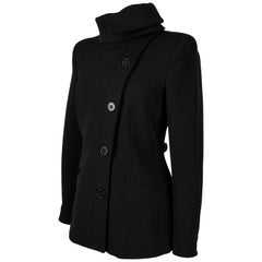 Giorgio Armani Jacket Black Modified Peacoat Bold Collar Worn Many Ways 42 / 8