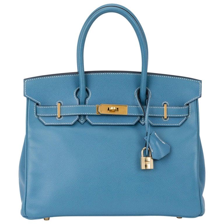 Hermes Blue Jean Birkin 30 Courchevel Bag