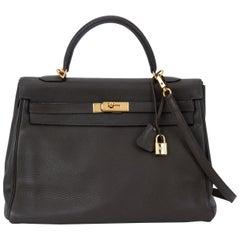 Hermes Kelly 35 Retourne Olive Green Bag
