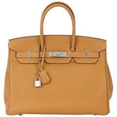 Hermes Birkin 35 Sable Clemence Handbag