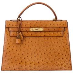 1980's Vintage Hermes Birkin 32 cm Sellier Gold Ostrich Bag