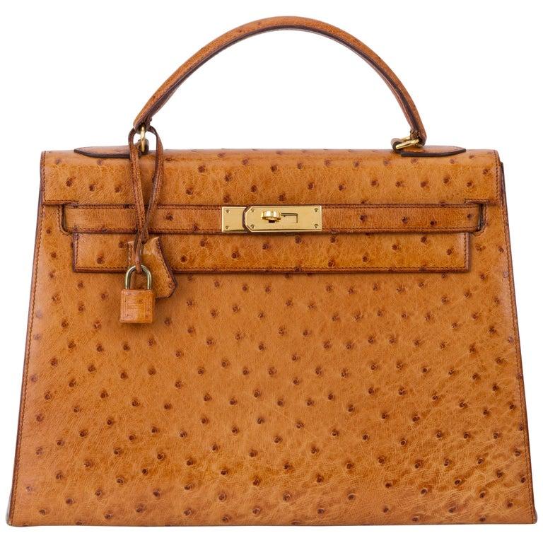 f4e789f6ce47 1980 s Vintage Hermes Birkin 32 cm Sellier Gold Ostrich Bag at 1stdibs