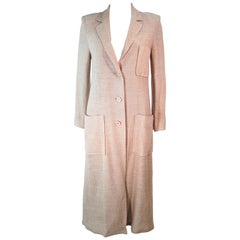 VALENTINO Vintage 1970's Beige and Tan Tweed Long Coat Size 10