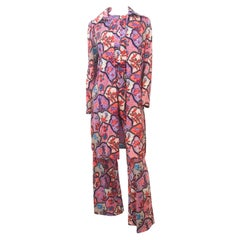 1970s Printed Jumpsuit and Jacket Set