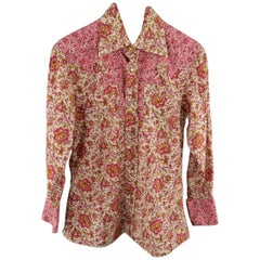 GUCCI by TOM FORD Size S Pink & Brown Floral Cotton Long Sleeve Western Shirt