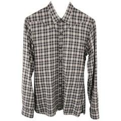 Men's LANVIN Size S Grey Plaid Cotton Long Sleeve Western Shirt