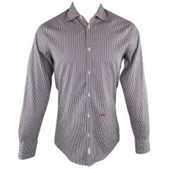 DSQUARED2 Size S Navy & Brown Plaid Cotton Long Sleeve Spread Collar Shirt