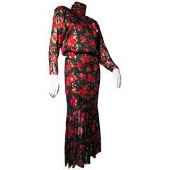 Sonia Rykiel Silk Chiffon floral Print Lame Dress W/ Low Back & Flounced Hemline