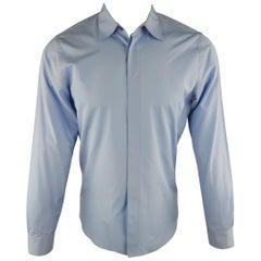 MARNI Size S Light Blue Solid Cotton Long Sleeve Shirt