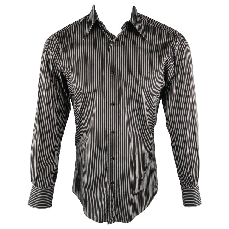 e3224154d GUCCI Size S Black & Grey Stripe Cotton Long Sleeve Fitted Shirt For Sale