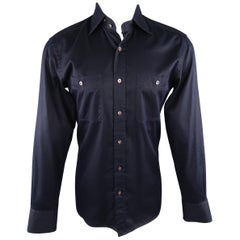 TOM FORD Size M Navy Solid Cotton Long Sleeve Shirt