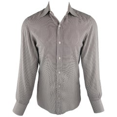 TOM FORD Size M Grey Houndstooth Cotton Long Sleeve Shirt