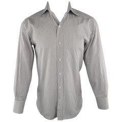 Men's TOM FORD Size M Grey Stripe Cotton Long Sleeve Shirt