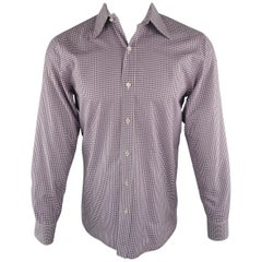 TOM FORD Size M Purple & White Checkered Cotton Long Sleeve Shirt