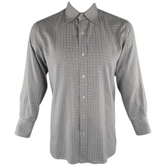 TOM FORD Size L Grey Plaid Cotton Long Sleeve Shirt