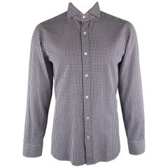 TOM FORD Size L Navy & White Checkered Cotton Long Sleeve Shirt