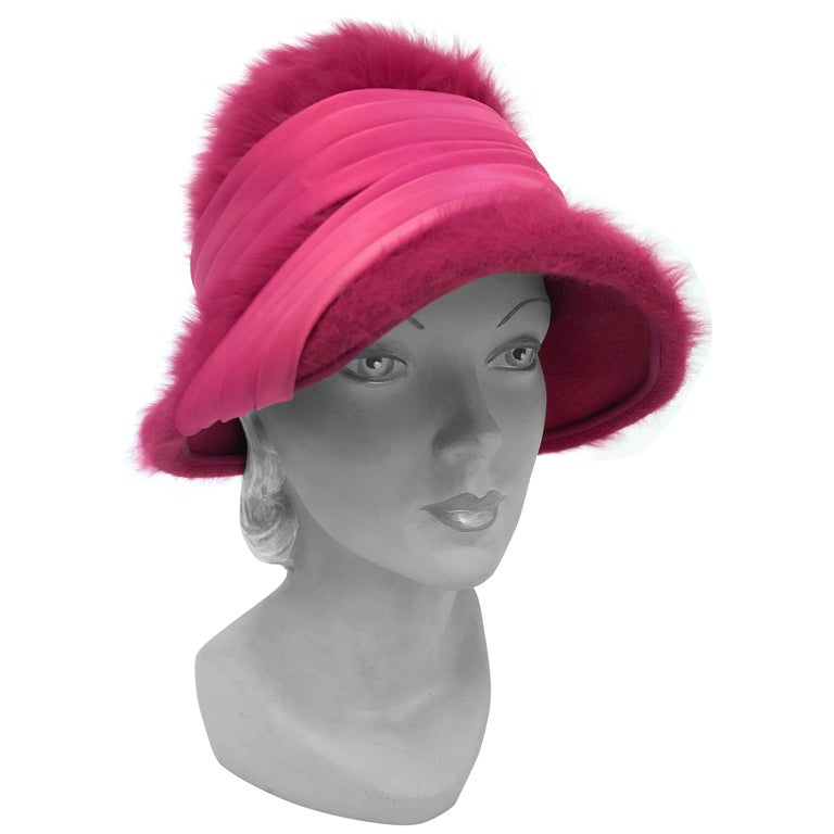 1960s Hot Pink Angora Cloche with Satin Hat Band For Sale
