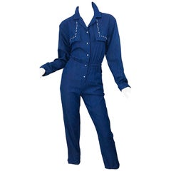 Amazing 1990s French Designer Blue Jean Denim + Rhinestone Pear Vintage Jumpsuit