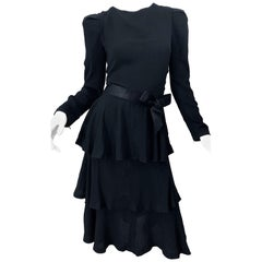 Vintage Arnold Scaasi Couture Size 8 Black Rayon Crepe Long Sleeve Tiered Dress