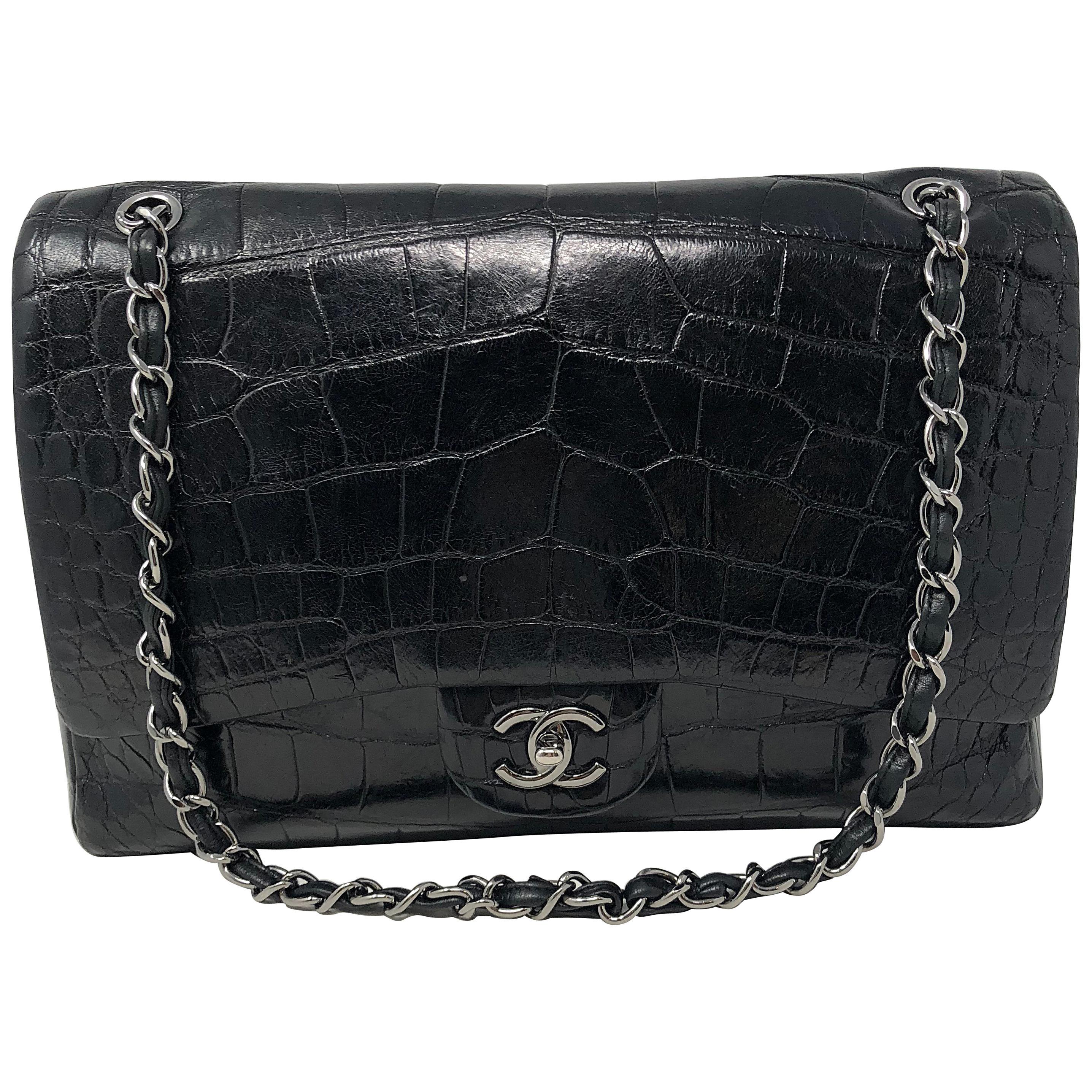 Chanel Crocodile Black Jumbo Bag