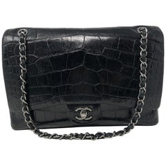 Chanel Crocodile Black Jumbo Bag
