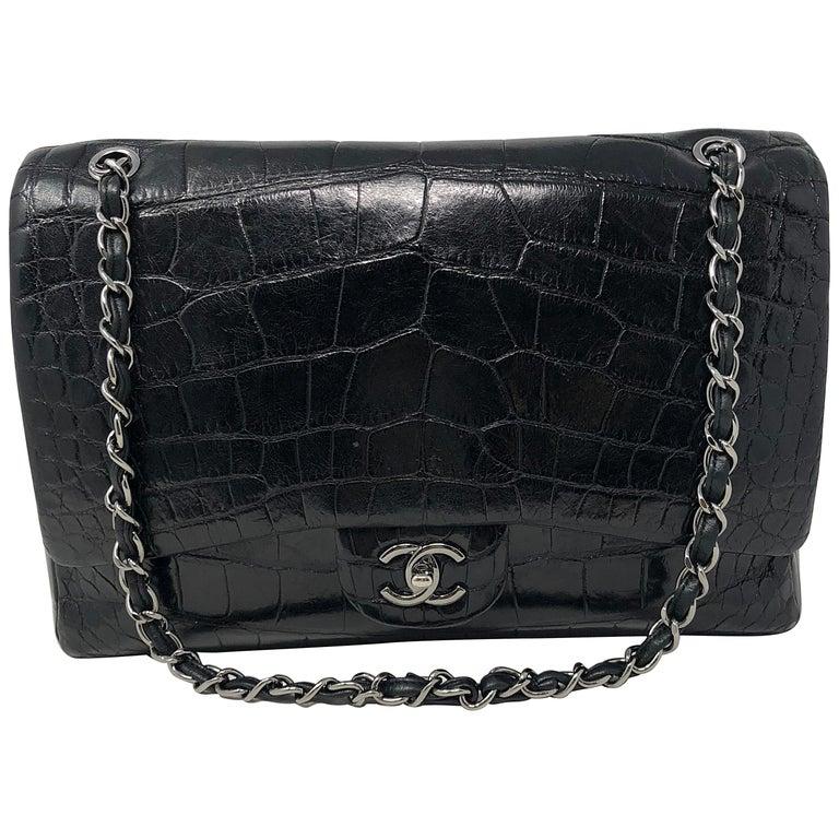 Chanel Crocodile Black Jumbo Bag For Sale
