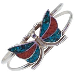 Vintage Zuni Native American Silver Cuff Bracelet With Turquoise & Coral Inlays