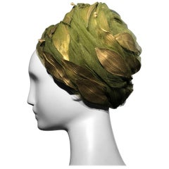 1960s Christian Dior Turban In Olive Tulle Adorned W/ Gold Leaves