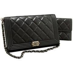 CHANEL Boy WOC Wallet On Chain Chain Shoulder Bag Lambskin Black