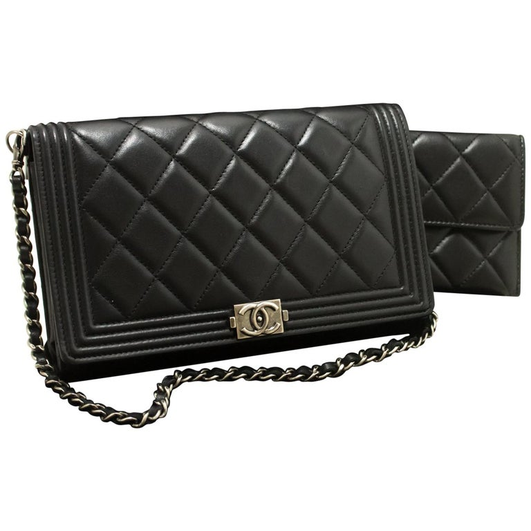 CHANEL Boy WOC Wallet On Chain Chain Shoulder Bag Lambskin Black For Sale 3ddcf2266
