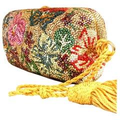 Judith Leiber Swarovski Crystal Floral Print Mini Minaudiere W/ Tassel Rope Bag