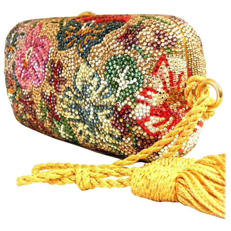 Judith Leiber Swarovski Crystal Floral Print Mini Minaudiere W/ Tassel Rope Bag For Sale