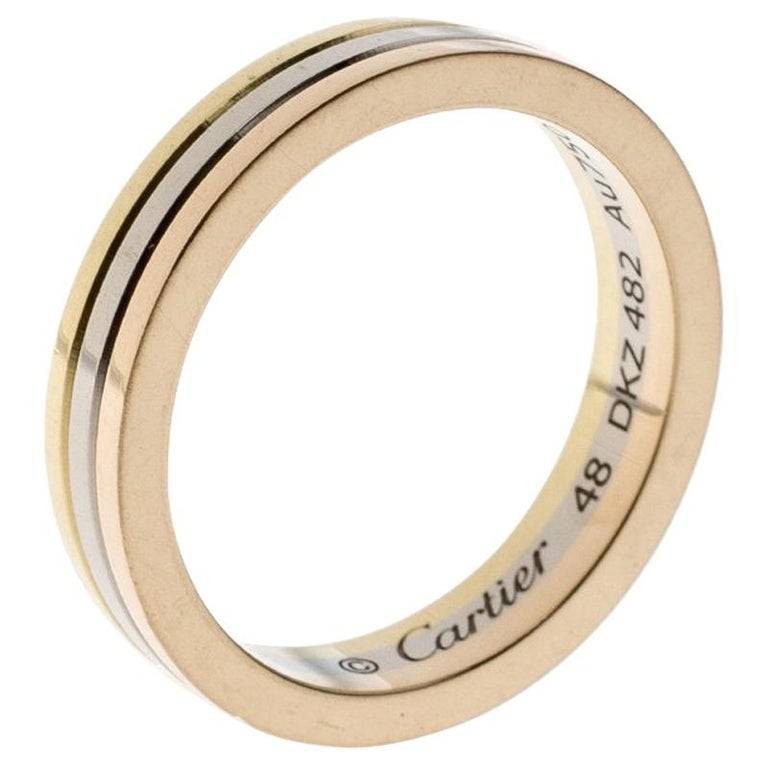 2838c5f57fdc9 Cartier Trinity 18K Three Tone Gold Wedding Band Ring Size 48
