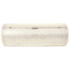 Judith Leiber Clear Crystal Cylinder Clutch Evening Bag