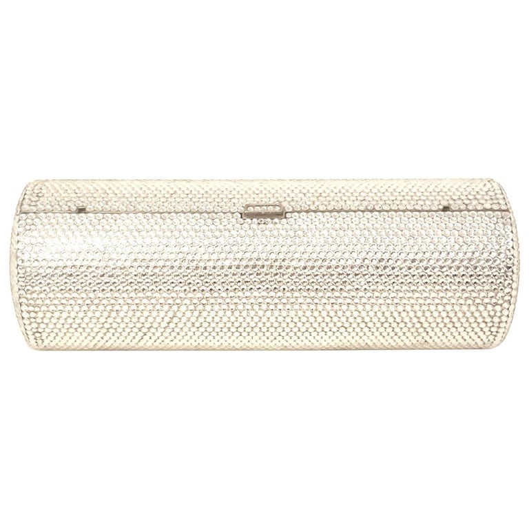 Judith Leiber Clear Crystal Cylinder Clutch Evening Bag For Sale