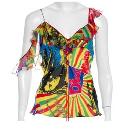 Christian Dior by Galliano 2004 Rasta Collection Silk Top with Chiffon Ruffles