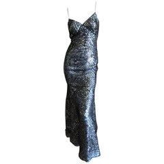 Oscar de la Renta Pewter Mosaic Pattern Sequin Mermaid Gown