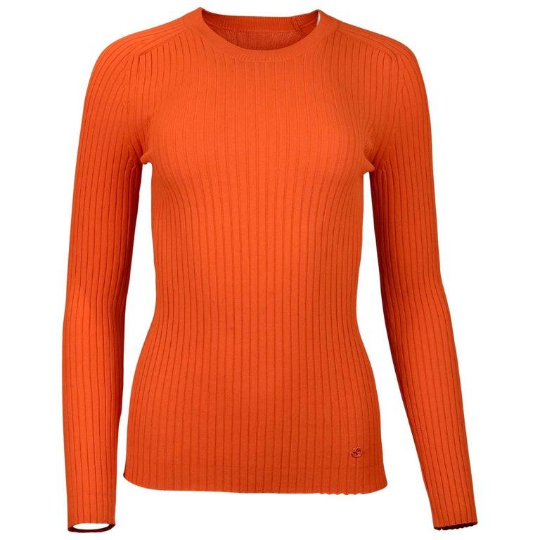 Gucci Neon Orange Long Sleeve Ribbed Crew Neck Sweater Sz M