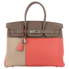 Hermes Birkin Handbag Tricolor Clemence and Swift with Brushed Palladium