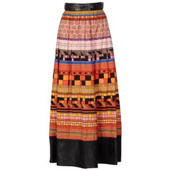 1970s Lanvin Multicolored Geometric Print Leather Trim Maxi Skirt