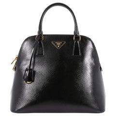 Prada Zip Around Convertible Dome Satchel Vernice Saffiano Leather North South