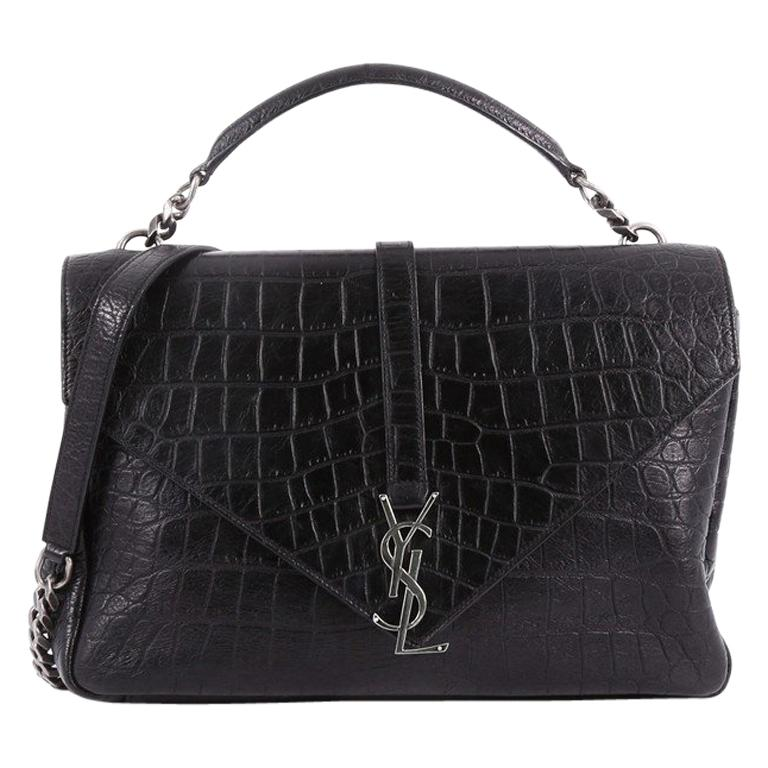f2992aa3f073 Saint Laurent Classic Monogram College Bag Crocodile Embossed Leather Large  For Sale