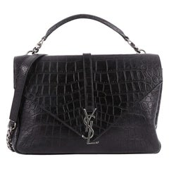 Saint Laurent Classic Monogram College Bag Crocodile Embossed Leather Large