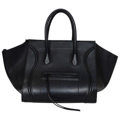 Celine Drummed Calfskin Leather Black Medium Phantom Luggage Tote Bag