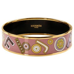 Hermès Lavender Enamel Letters Bracelet
