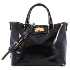 Prada Turn Lock Tote Vernice Saffiano Leather Medium