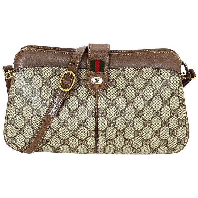 cbab0935c56 Gucci Vintage Monogram Tan Coated Canvas/ Brown Leather GG Supreme ...