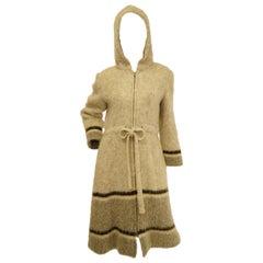 1960s Hilda Icelandic Oatmeal Wool Coat with Hood and Grey Stripe Detail M